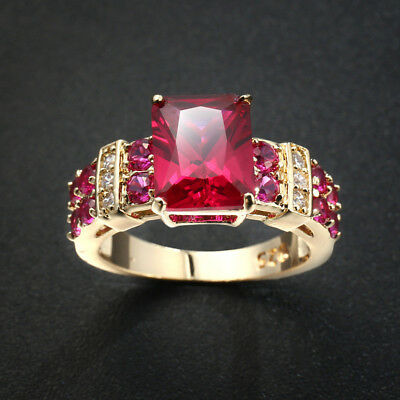 Romantic Rose Ruby White Topaz Gems Champagne Gold Plated Silver Ring Size 6-10 Champagne Stone Ring