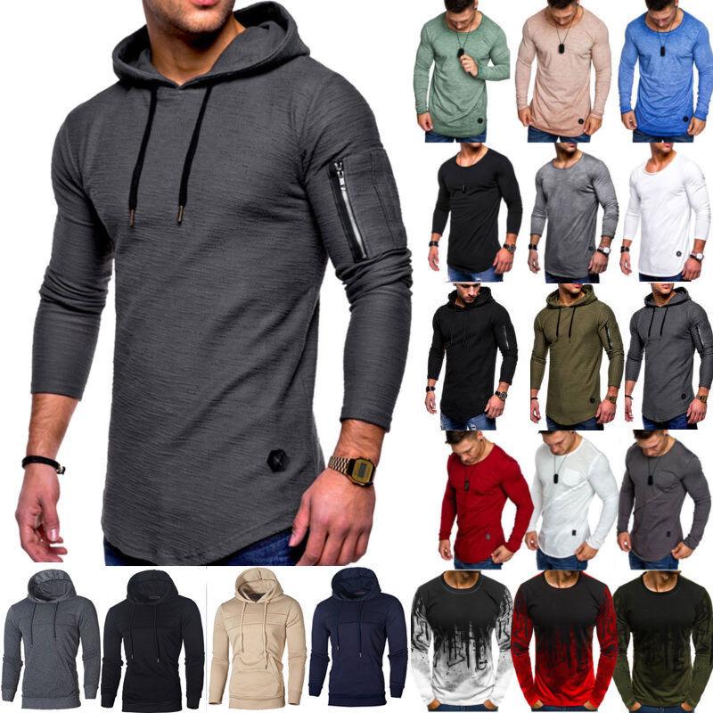 Men Long Sleeve T-Shirts Hoodie Hooded Jumper Sweatshirt Pul