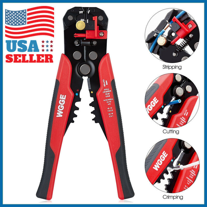 Wire Striper Cutter Stripper Crimper Pliers Adjustable Automatic Terminal Tool Business & Industrial