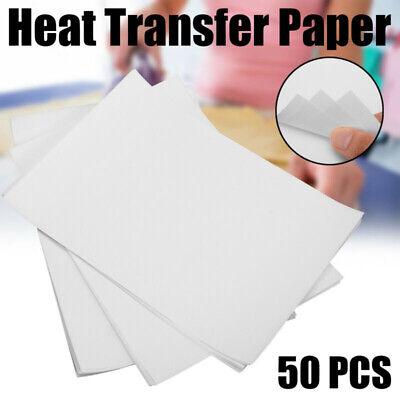 50pcs White A4 Thermal Transfer Paper T-shirt Design Printing For Inkjet Printer