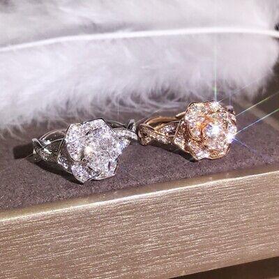 Fashion Women 925 Silver Gold Rose Flower Crystal Zircon Ring Wedding Jewelry ()