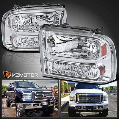 2005-2007 Ford F250 F350 F450 F550 SuperDuty Crystal Clear Headlights PAIR
