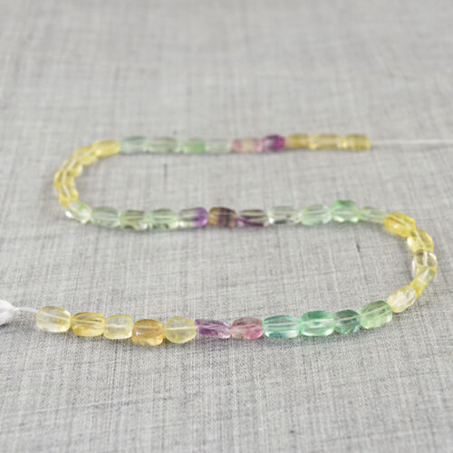 90.00 Cts / 13 Inches Natural Untreated Multicolor Fluorite Drilled Beads Strand