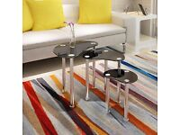 BLACK GLASS OVAL NEST OF 3 COFFEE TABLES / SIDE END TABLE WITH CHROME LEGS......Brand New