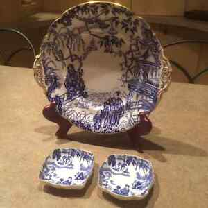 Royal Crown Derby Mikado Cake Plate,Sandwich Tray and Nut Dishes