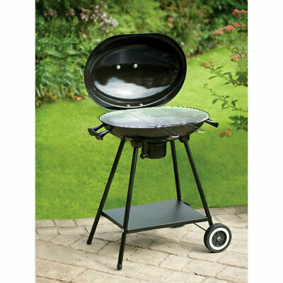 New Amazing Oval Kettle BBQ Barbeque on wheels Chrome Plated -Great Family Time