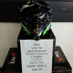 NEW!! PHX Youth Motocross Helmet/Goggles Combo ONLY $99.99