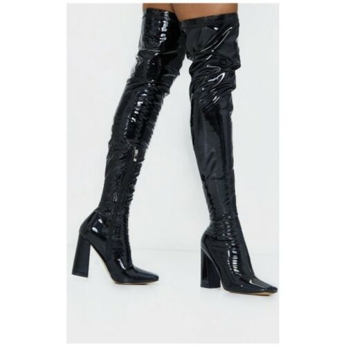 Women/'s Over Knee Thigh Boots Shiny Patent Leather High Block Heels Club Shoes