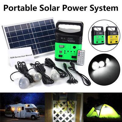 Portable Solar Panel Power Generator LED Light Bulb USB Charger House System Kit