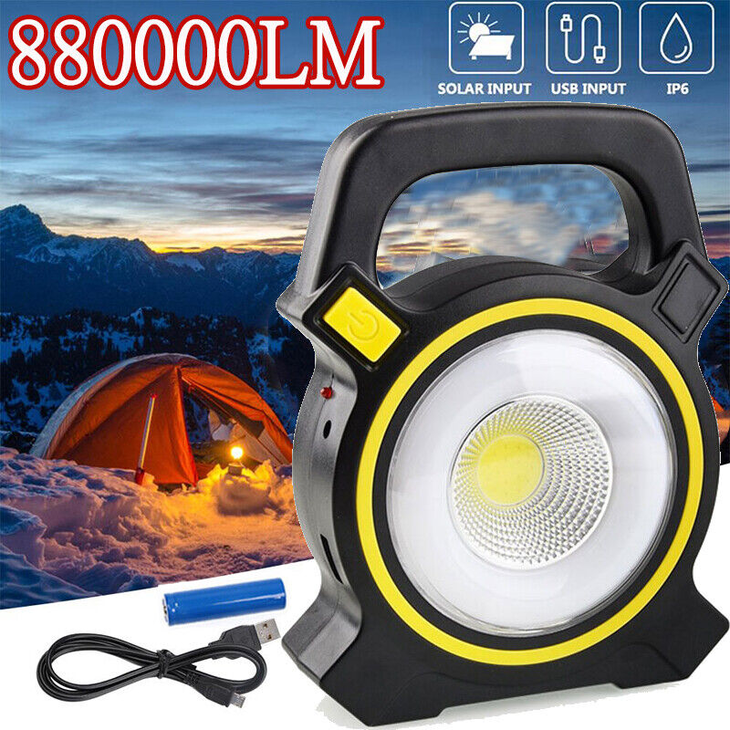 Solar USB Charging Rechargeable Camping Tent Lantern Light LED Lamp Powered