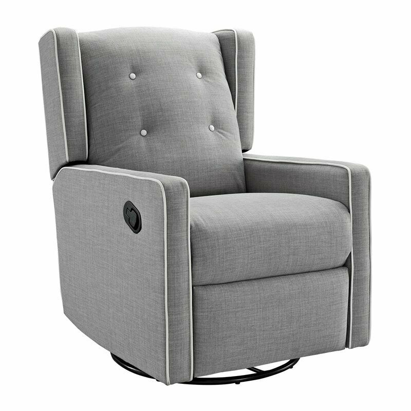 Baby Relax Mikayla Fabric Upholstered Swivel Gliding Recliner in Light Gray