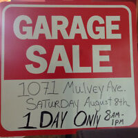 Garage Sale 1071 Mulvey Ave. 1 Day only