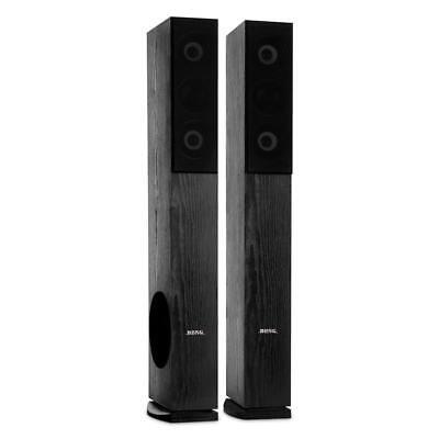 Hi Fi Speakers Pair Floor Standing DJ Tower Home Stereo 4-Way Wood 960W Black