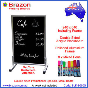 Double sided  Acrylic Blackboard + 8 x Liquid Chalk Pens. A Frame Board