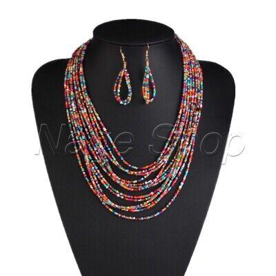 Perlenkette, Halskette, Kette mit Ohrringe, Statement, Hippie, Boho, - Perle Halskette Set