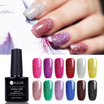 (7.5ml UR SUGAR Rainbow Holographic Gel Polish Shimmer Manicure Soak Off Nail Gel)