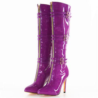 Sexy Lackleder Wadenhohe Stiefel Damenschuhe Boots Schnalle Lila Nachtclub NEU