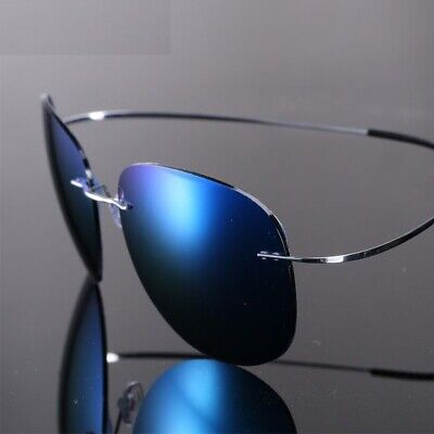 Unisex Ultra-Light Sunglasses Flexible Titanium Rimless Mirror Polarized (Flexible Titanium Sunglasses)