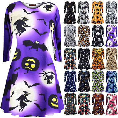 Halloween Dress Women (USA Women Ladies Long Sleeve Halloween Prints Swing Skater Halloween Dress)