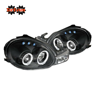 For 00-02 Dodge Neon Dual Halo Projector Headlights LED Black Housing Clear Lens Dodge Neon Headlamp Assembly