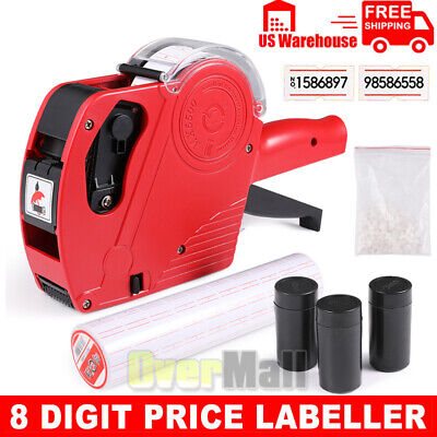 Mx-5500 8 Digits Eos Price Tag Gun 5000 White W Red Lines Sticker Labels Ink