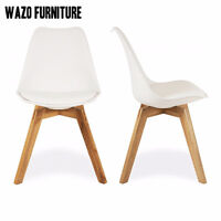 padded eames, eiffel, chairs, cuir, leather, oak legs, white