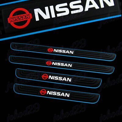 Black Rubber Car Door Scuff Sill Cover Panel Step Protector Blue for Nissan 4PCS