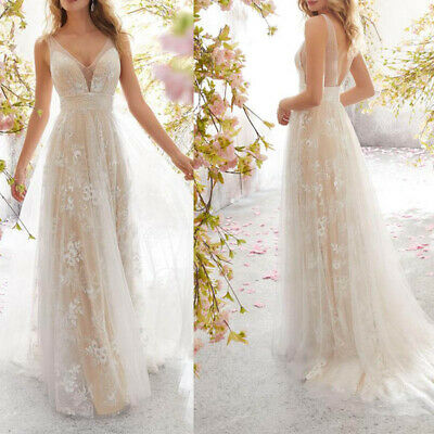 Wedding Dresses Sexy V Neck Sleeveless Backless With Applique Bride Gowns