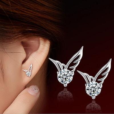 Fashion Women 925 Sterling Silver Angel Wings Crystal Ear Stud Earrings Jewelry