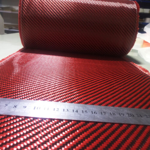 """Carbon fiber Aramid cloth Red made with Kevlar mixed fabric 50cm 20"""" wide 200gsm"""
