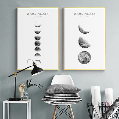 Moon Phases Abstract Nordic Poster Prints Wall Art Canvas Painting Picture Decor