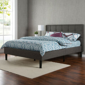 Zinus Upholstered Platform Bed - Queen - Grey New in box