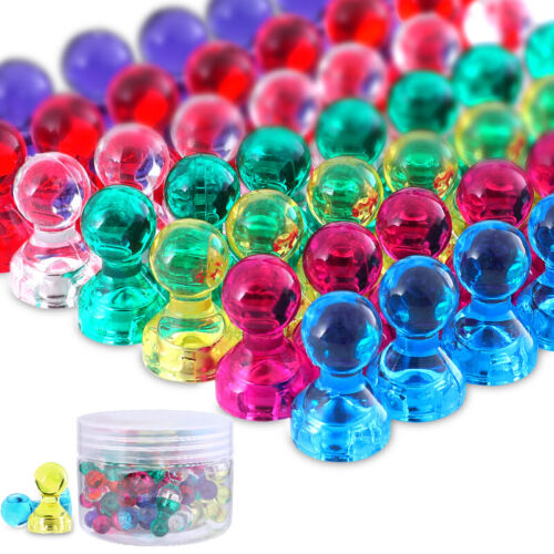 60 Magnetic Push Pins - Ideal for Office Whiteboard Home Ref