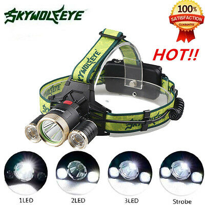 15000LM CREE 3-XML T6 LED Headlamp Headlight 18650 flashlight head light lamp