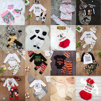2017 Xmas Newborn Infant Baby Girl Boys Tops Romper Pants Outfits Set Clothes US