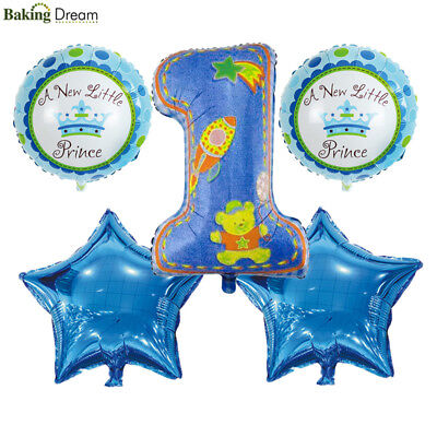 5Pcs 1st Happy Birthday Balloons First Baby Boy Girl Party Decoration Supplies (Baby Girl 1st Birthday Party Supplies)