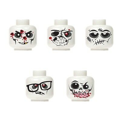 Lego Custom Assorted White Zombie Minifigure Head walking dead City Halloween #1