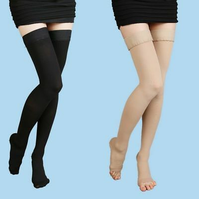 Medical Compression Stockings Thigh High Varicose Support Socks Closed/Open Toe (Open Toe Thigh High Socks)