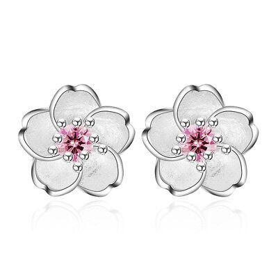 925 Silver Crystal Cherry Blossoms Flower Ear Stud Earrings For Women Girl's ()