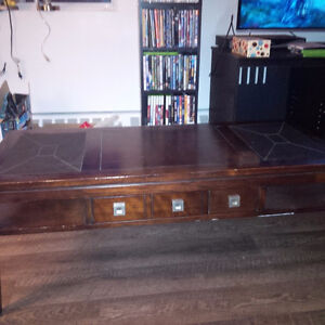 Wood Coffee Table with leather inserts
