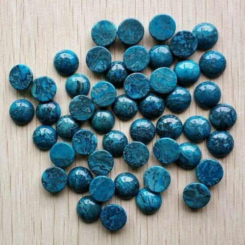 12mm Round Cabochon Natural Teal Blue Onyx
