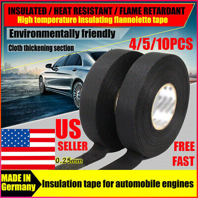 4 Rolls Tesa Cloth Tape Adhesive Looms Wire Harness 19mm15m Black For Car Auto