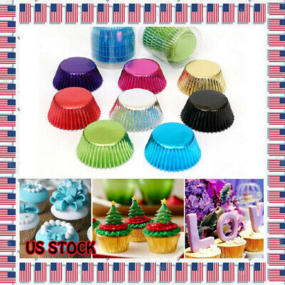 100Pcs Foil Metallic Paper Cupcake Cases Liners Muffin Baking Cake Cup US Sto