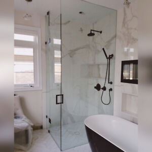 GLASS SHOWER DOORS, MIRRORS AND RAILING