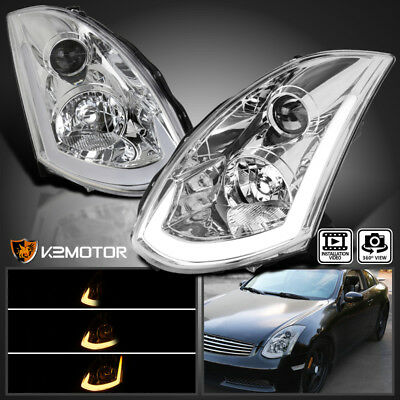 Fits 2003-2007 Infiniti G35 Coupe HID type LED strip Projector Headlights Pair ()