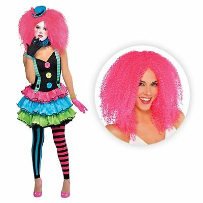 Cool Clown Costume Circus Fancy Dress Party Halloween Jester + Pink Crimped Wig