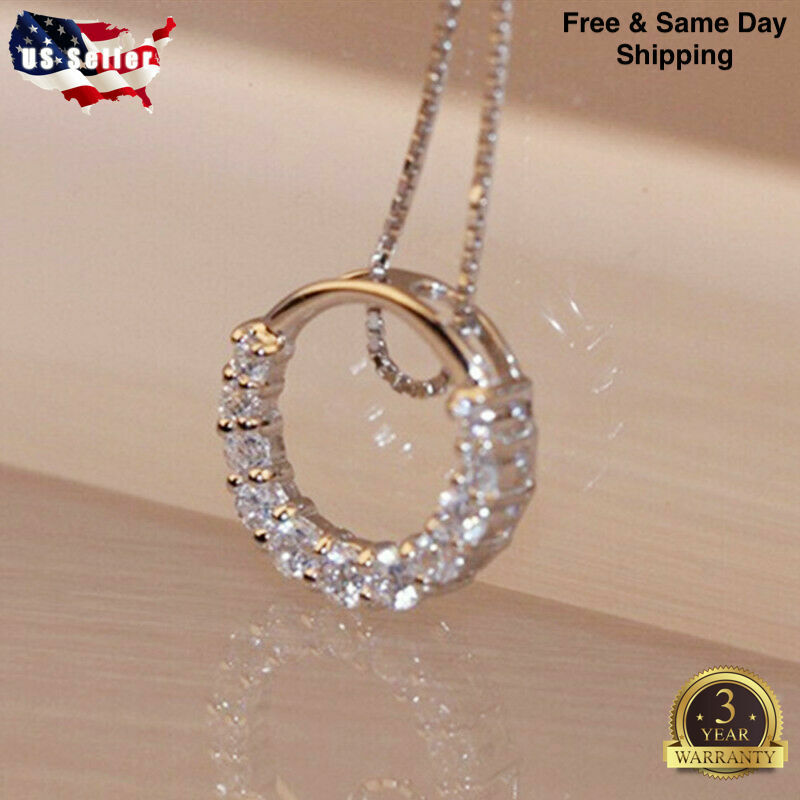 Fashion 925 Silver Necklace Pendant for Women White Sapphire Wedding Jewelry