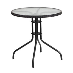 Round Glass Metal Table $125