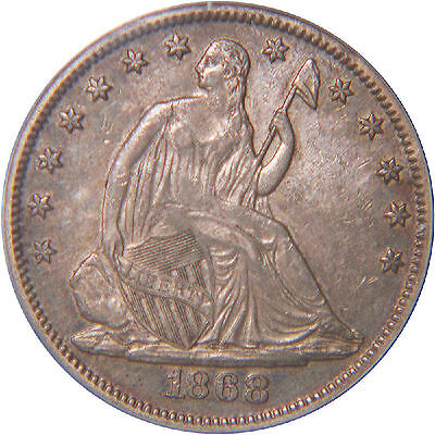 CRUSTY 1868 SEATED 50C HALF PCGS XF45 - TOUGHCOINS