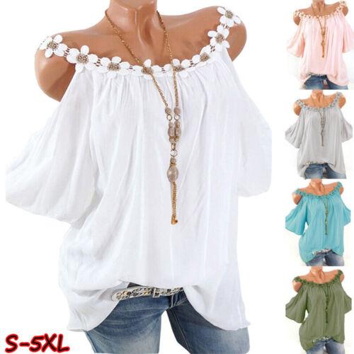 Women Summer Lace Crew Neck Cold Shoulder T Shirt Casual Sol
